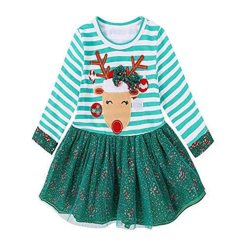 LEXUPE Kleinkind Weihnachten Kleid Kinder Baby Mädchen Santa Print Prinzessin Kleid Weihnachten Outfits Kleidung Weihnachten Schneemann Lace Print Prinzessin Kleid formelle Kleidung(Grün,100)