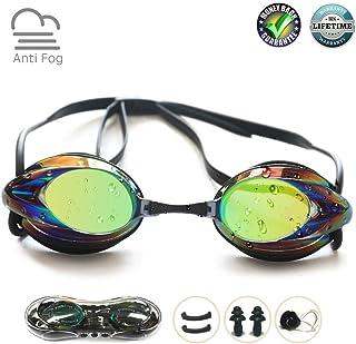Swim Goggles, Swimming Goggles No Leaking Anti Fog UV Protection Shatterproof Professional Comfortable Adjustable Triathlo...