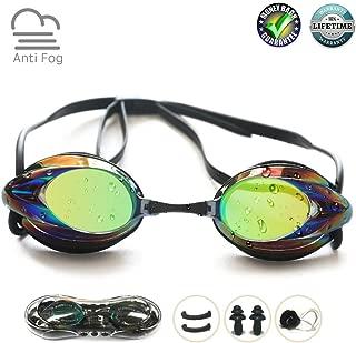 Swim Goggles, Swimming Goggles No Leaking Anti Fog UV Protection Shatterproof Professional Comfortable Adjustable Triathlon Mirrored Swim Glasses Competitive Lap Swim Goggles for Men Kids Women Adult