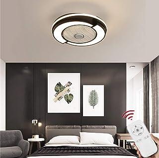 SLZ Ventilador De Techo con Lámpara Redondo LED Creativo con Control Remoto Lámpara De Ventilador De Techo Regulable Interior Decoración De Dormitorio Iluminación del Ventilador De Techo,Negro
