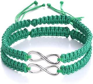 ECOLOG 2Pcs 8 Infinity Braided Bracelets Couple Braided (Green)
