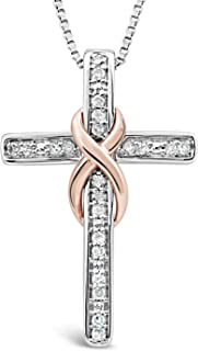 Diamond Necklace in 10k Rose Gold and Sterling Silver - 0.08 cttw (HI, I2-I3) - 18 Inch Chain