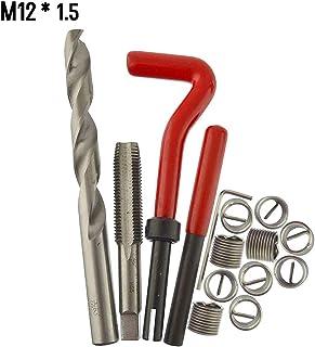 mewmewcat Kit de inserção de reparo de rosca métrica 15 unidades M5 M6 M8 M10 M12 M14 Helicoil Car Pro Coil Tool M12 * 1.5