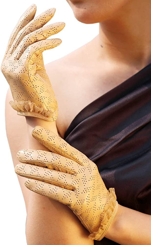 WARMEN Women's Genuine Lambskin Comfortable Perforated Leather Gloves with Lace Cuff