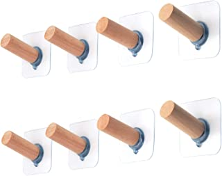 Adhesive Hanger Wooden Hooks - 8 Pack for Closet Hat Hook Self Adhesive Robe Coat Hooks