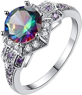 Coco-Z New Women Simple Seven Color Round Zircon Ring Fashion Jewelry, Overseas Import Products Specialty Store