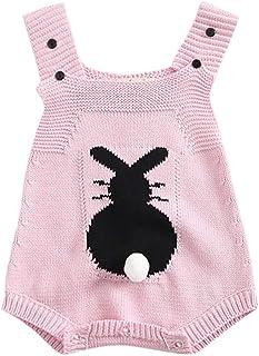 904f6e994 Mitlfuny Peleles Mono de Punto Invierno Otoño Recien Nacido Conejo  Estampado Princesa Triangulo Correa Mameluco de