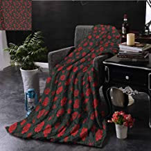 Elxmzwlob Reversible Blanket Red and Black Beautiful Fur Throw Blanket Rose Swirls Ivy Plants Dark Mysterious Forest Themed Pattern (60