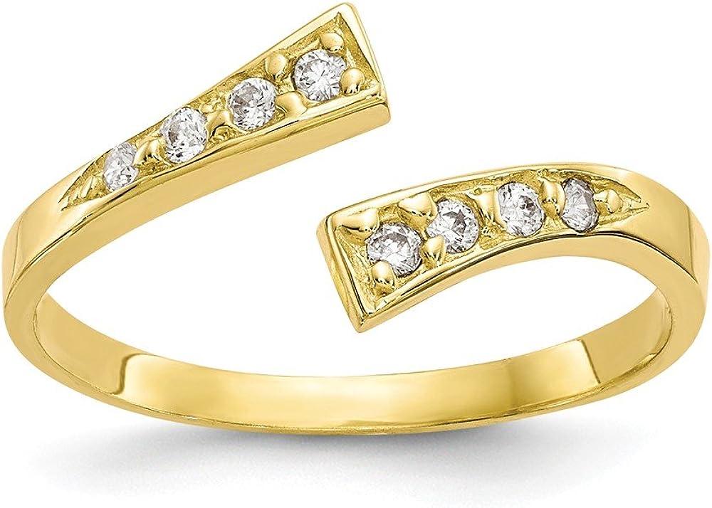 FB Jewels Solid 10K Yellow Gold Cubic Zirconia CZ Toe Ring