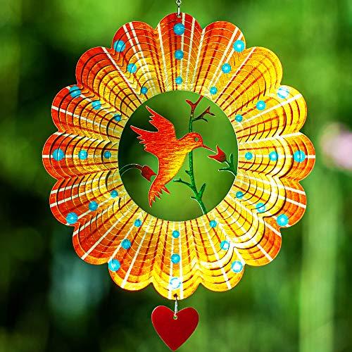 3D-Edelstahl Windspiel 30 cm - Windspiel hängend - kinetic Windspiel - Innen-/Außendekoration - extra Metalldeko mit Laserschnitt - kinetic Spinner - Love bird Kolibri
