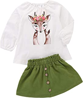 Toddler Kids Baby Girls Outfits Spotted Deer T-Shirt Long Sleeve Top + Button A-line Skirt Clothes Set