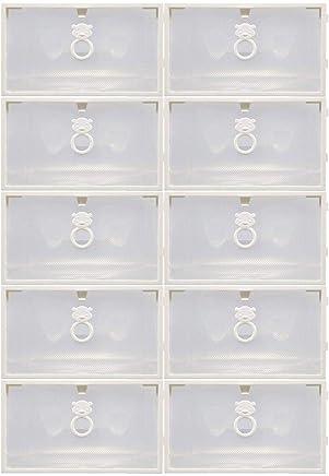 10Pcs Clear Plastic Shoe Storage Transparent Stackable Tidy Organizer box … (Transparent 10PCS)