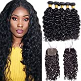 Maxine 9A Malaysian Virgin Hair Bundles with Closure Water Wave 3 Bundles With Middle Part Closure Wet And Wavy Virgin Human Hair Weave Natural Black(20 22 24with 18)