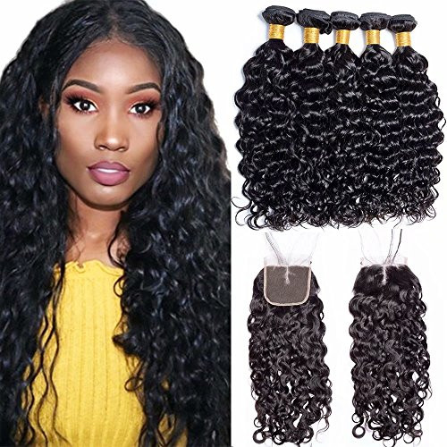 Maxine 9A Malaysian Virgin Hair Bundles with Closure Water Wave 3 Bundles With Middle Part Closure Wet And Wavy Virgin Human Hair Weave Natural Black(