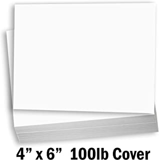 Hamilco White Cardstock Thick Paper - Blank Index Flash Note & Post Cards - Greeting Invitations Stationary 4 X 6 Heavy Weight 100 lb Card Stock for Printer (100 Pack)