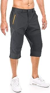 FASKUNOIE Men's Cargo Long Shorts 3/4 Below Knee Quick Dry Capri Pants with Zipper Pockets