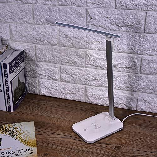Lámpara LED USB, compatible con la mayoría de los teléfonos móviles con función de carga inalámbrica Lámpara de escritorio LED Cargador inalámbrico Rotación de 135 ° para el hogar para el