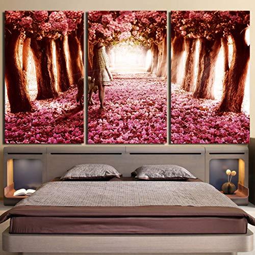 TBDZPS 3 Panel Modern Home Wandkunst Dekor Modulare Bilder Kirschblüten Mädchen Wolf Landschaft Hd Gedruckt Gemälde Auf Leinwand