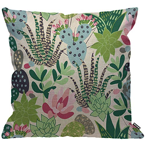 HGOD DESIGNS Cactus Cushion Cover,Succulents and Cactuses Throw Pillow Case Home Decorative for Men/Women Living Room Bedroom Sofa Chair 18X18 Inch Pillowcase 45X45cm