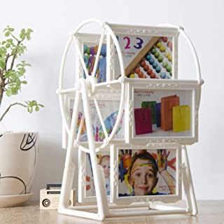 YOTHG Photos Frame, 5 Inch Rotating Ferris Wheel Photo Album Photo Holder, European Creative Pictures Frame Vintage Detachable Photo Display, Ideal Fun Gift Home Decoration(White)