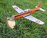 Pilatus PC-7 Flugzeug als Windrad aus Edelstahl/Metall - Propeller dreht - Gartendeko