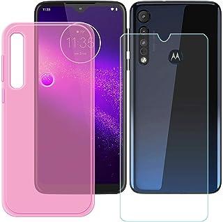 YZKJ Fodral för Motorola G8 Plus Cover rosa mjuk silikon skyddande skal TPU skal skal skal + pansarglas skärmskydd för Mot...