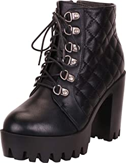 Cambridge Select Women's Retro 90s Quilted Lace-Up Chunky Lug Platform Block Heel Ankle Bootie