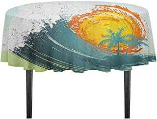 kangkaishi Tropical Detachable Washable Tablecloth Exotic Coconut Palm Trees Sun Ocean Wave Summer Graphic Great for Parties Festivals etc. D59.05 Inch Pale Green Petrol Blue Earth Yellow