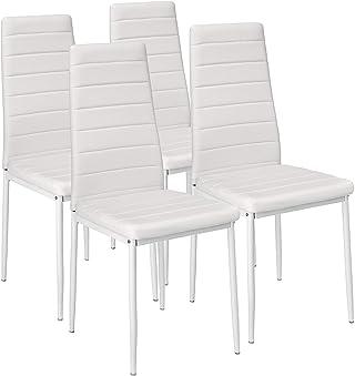 Luckeu - Juego de 4 sillas de comedor con respaldo alto tapizado de piel sintética, impermeable, para comedor, cocina, sala de estar, oficina, salón, color blanco