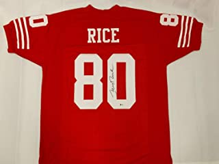49Ers Legend Jerry Rice Autographed Signed Red Jersey Beckett BAS COA San Francisco