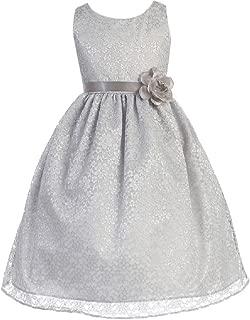 Little Girls Adorable Lace Overlay Spring Summer Flowers Girls Dresses