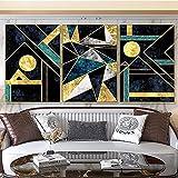 Cartel moderno e impresión Arte de la pared Pintura en lienzo Decoración Sala de estar Dormitorio Oficina Imagen de línea dorada irregular Decoración del hogar Sin marco-40x60cmx3