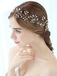 FXmimior - Tiara da sposa floreale con cristalli, accessorio per capelli con perle e fiori, elegante accessorio per capell...