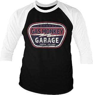 Gas Monkey Garage Licenciado Oficialmente Vintage Custom Baseball 3/4 Manga Camiseta (Blanco-Negro)