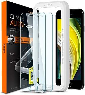 Spigen, 2 stuks, Screenprotector compatibel met iPhone SE 2020/8 / 7, AlignMaster, Frame voor eenvoudige installatie, Case...