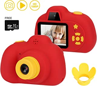 HALOViE Kids Camera Gifts for 4-9 Year Old Girls, 8MP 1080P HD Children Shockproof Mini Video Camcorder Front Rear Selfie Camera with Soft Silicone Shell for Outdoor Play(32GB TF Card Included)-Red