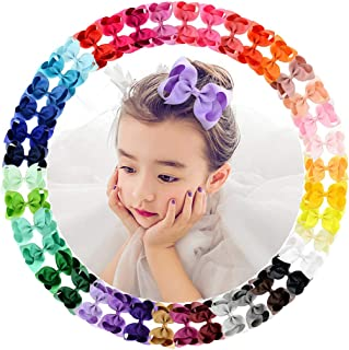 40Pcs 4.5 inch Baby Girls Toddler Hair Bows with Alligator Clip Grosgrain Barrettes Bundles Accessories for Infant (40 Pcs)