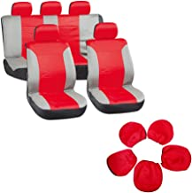 Seat Cover cciyu Universal Car Seat Cushion w/Headrest - 100% Breathable Washable Automotive Seat Covers Replacement Replacement fit for Most Cars Trucks Vans (Red on Gray)