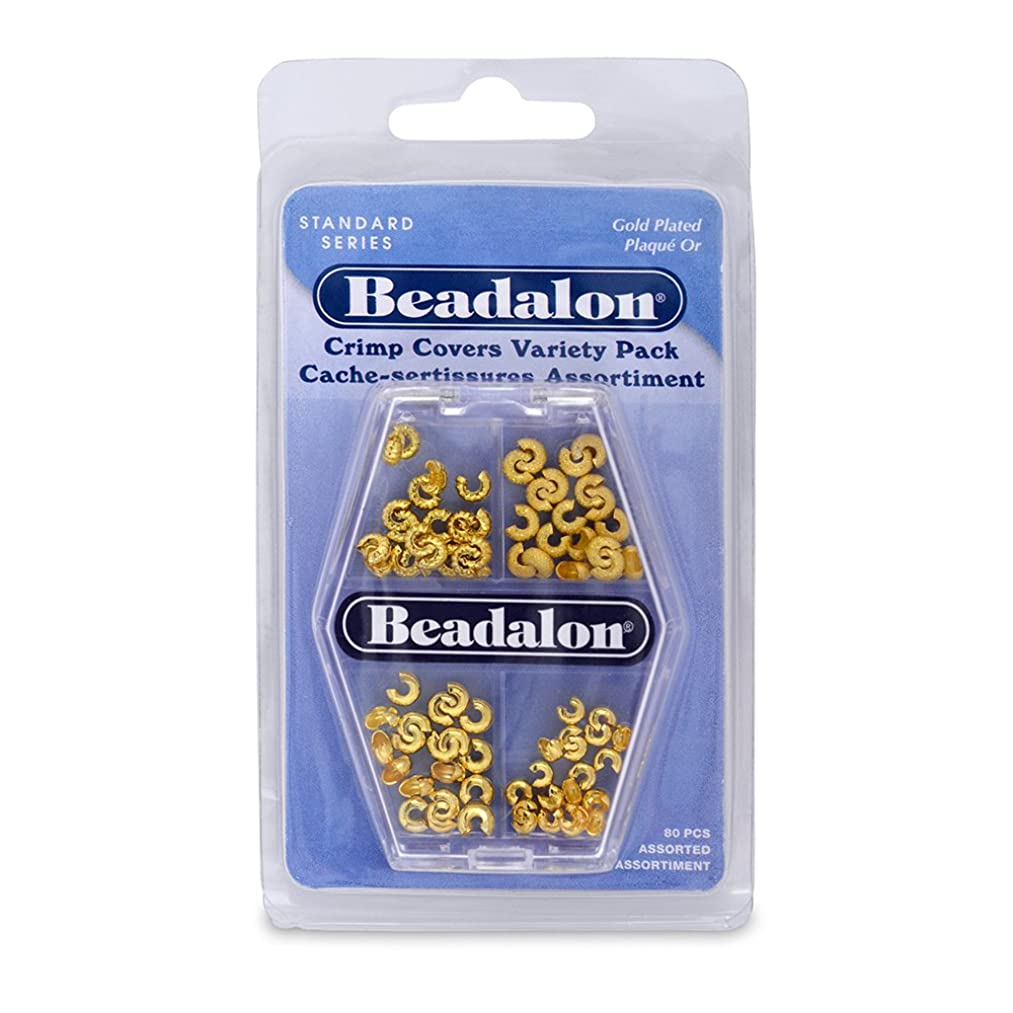 Beadalon Crimp Cover Assorted Nickel Free Gold Plated, 80-Piece