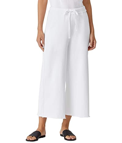 Eileen Fisher Organic Cotton French Terry Wide Leg Crop Pants (White) Women