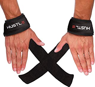Hustle Athletics Wrist Straps Weightlifting - Comfortable Cotton Deadlift Straps with Wide Padded Neoprene. Lifting Straps Also Compatible for Crossfit (Large)