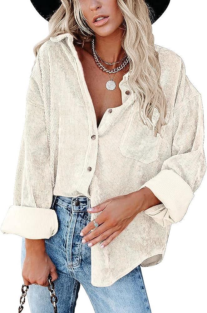 PASLTER Womens Corduroy Shirt Jackets Button Down Oversized Boyfriend Blouse Coat Casual Fall Jackets