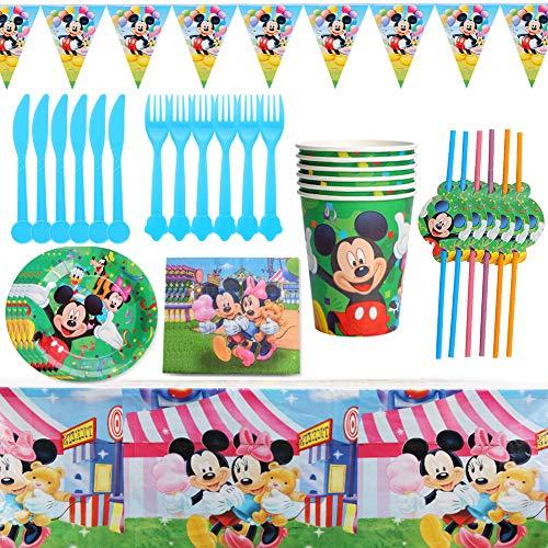 BESLIME Set di Articoli per Feste e Set di Stoviglie, 42pezzi per 6 Persone, Kit di Decorazioni di Compleanno per kids - Zigoli di Compleanno, Piatti, Tazze, Tovaglioli, Cannucce