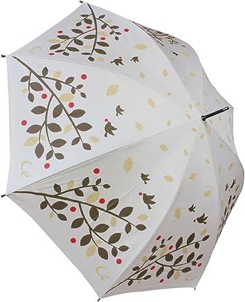 耐風 ゴルフ傘 レディース UV加工 晴雨兼用 親骨65cm 展開時直径109cm (ツリーバード)