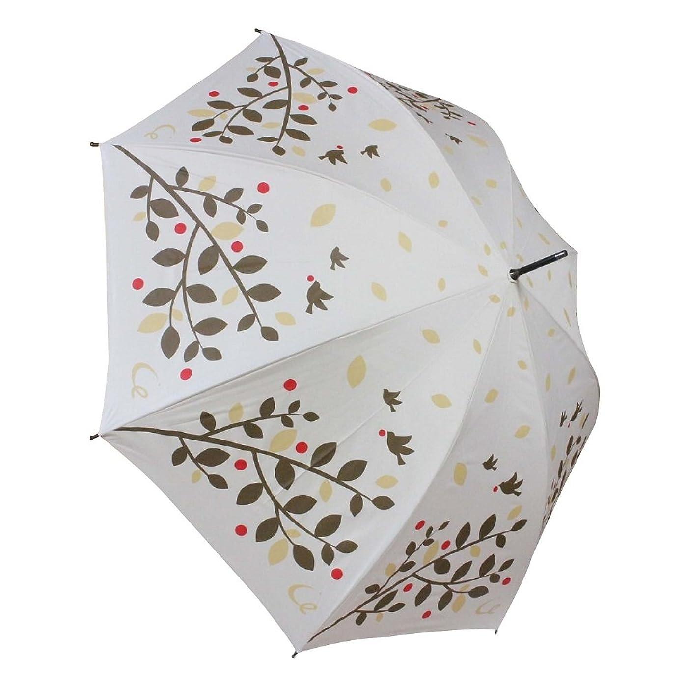 ファックス食堂機関車耐風 ゴルフ傘 レディース UV加工 晴雨兼用 親骨65cm 展開時直径109cm (ツリーバード)