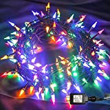 Twinkle Star Outdoor String Lights Christmas Lights 200 LED 66ft Mini Green Wire Fairy Lights with 8 Lighting Modes, Christmas Tree Garden Wreath Party Wedding Indoor Decorations, Multicolor