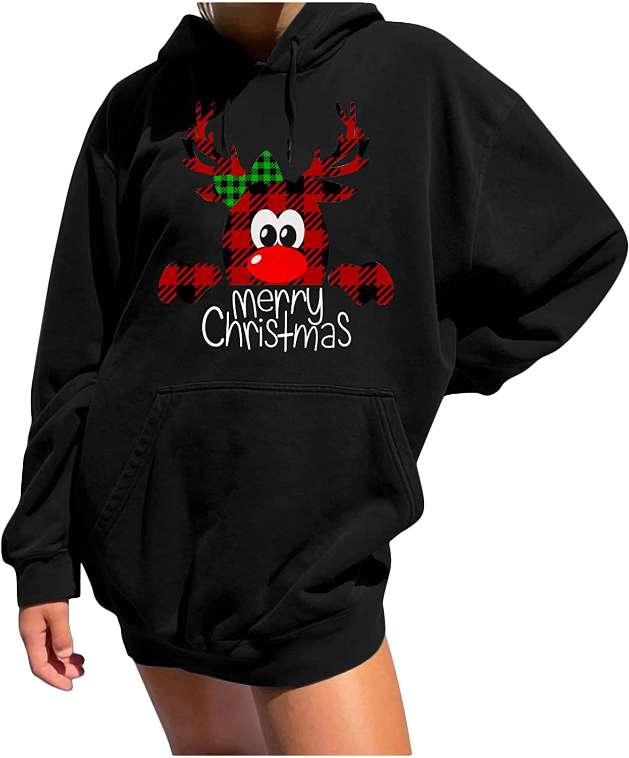 Women Casual Hooded At the price of OFFicial shop surprise Sweatshirt Christmas Printing Sleeve Ho Long