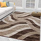Ottomanson City Collection Modern Area Rug Contemporary Sculpted Effect Abstract Chocolate Rug-5x7 (5'3' X 7'3'), 5'3' X 7'3', Brown-Beige Waves