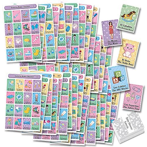 MoreFiesta Baby Shower Loteria Bingo - Bilingual English Spanish, for up to 40 Players