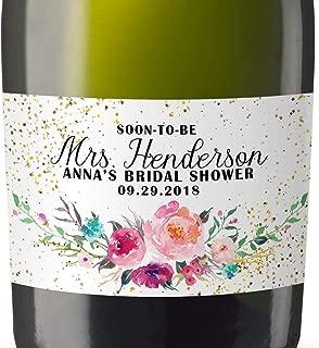 Mini-Champagne Bottle Labels for Bridal Shower, Bridal Shower Custom Mini-Champagne Label Stickers Sold in Set of 8